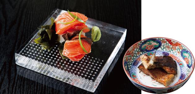 皮をパリパリに焼いた銀鮭の塩焼き(右)と、皮目を炙った刺身(左)。どちらも絶品!
