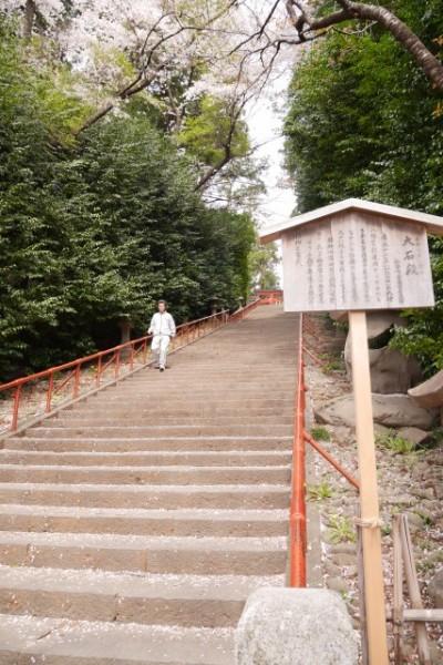 南参道の石段。98段ありけっこう急勾配。石段の先には二の鳥居が