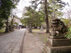 拝殿に向かって参道が続く境内。広く静かな景観がひろがる