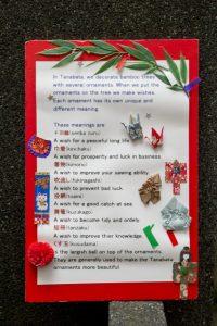外国人向けに英語で「七つ飾り」の意味を案内している手作りパネル